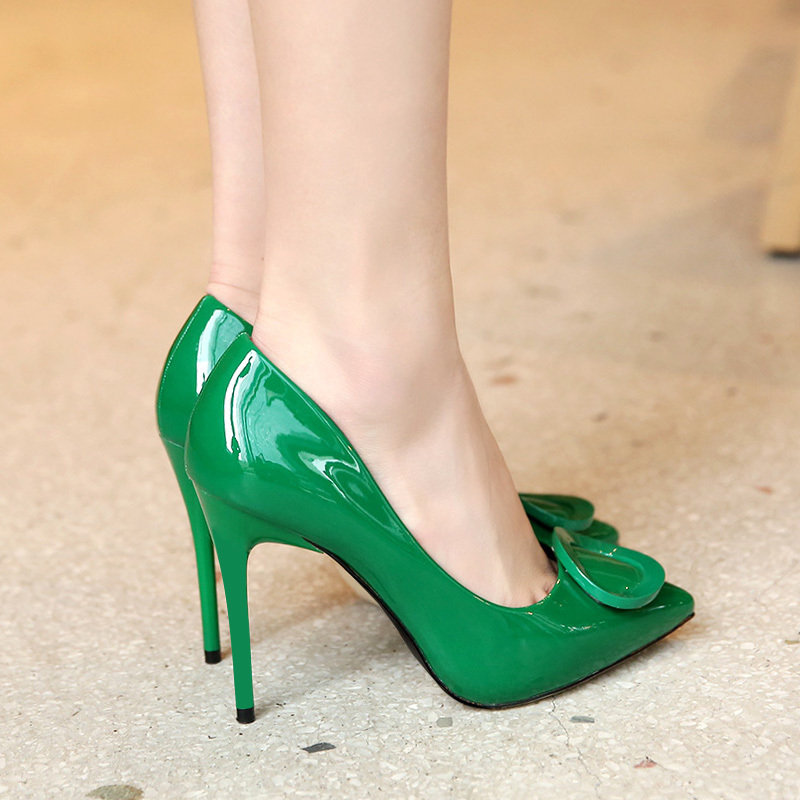 绿色单鞋 绿色高跟鞋女尖头细跟2021春款百搭性感防水台黑色漆皮单鞋10厘米_推荐淘宝好看的绿色单鞋
