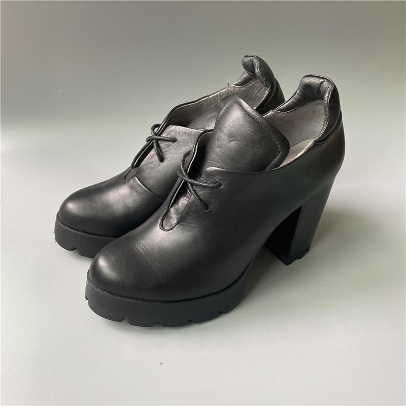 时尚高跟鞋 公牛世家女靴秋冬新款真皮鞋欧美时装靴高跟粗跟百搭时尚女裸靴_推荐淘宝好看的女时尚高跟鞋