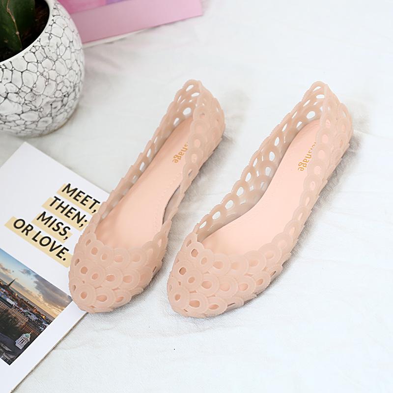 女凉鞋 夏季新款鸟巢平底凉鞋女水晶塑料沙滩简约百搭防滑雨鞋镂空果冻鞋_推荐淘宝好看的女凉鞋