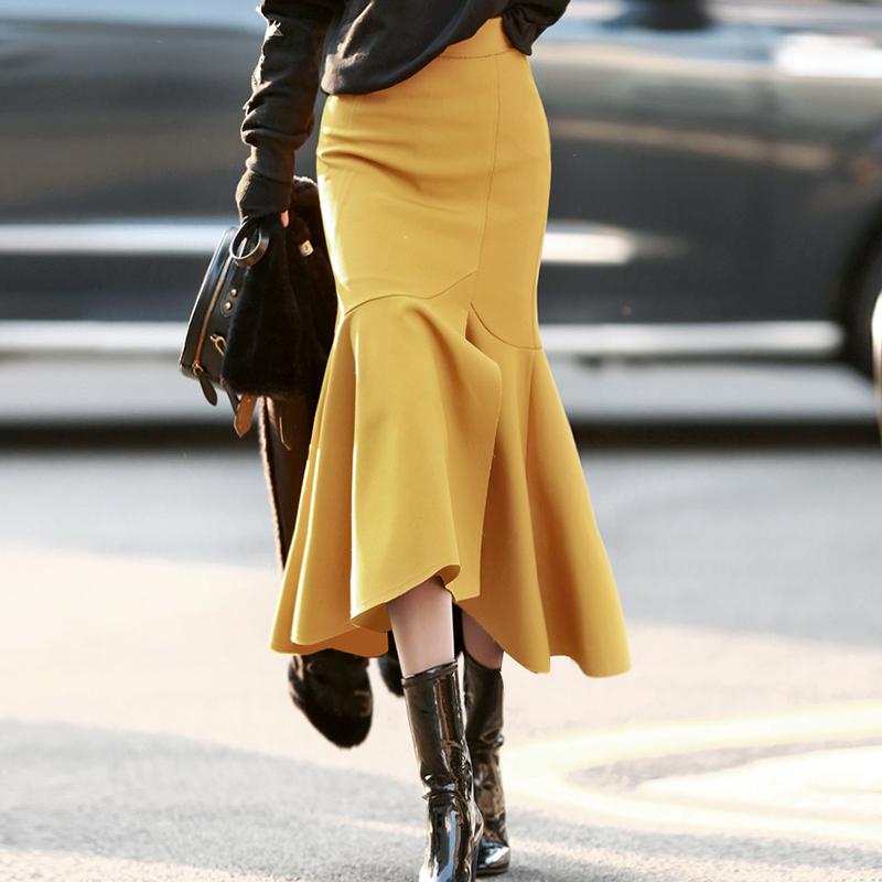 黄色半身裙 春裙2021年新款黄色麂皮绒半身裙垂坠感长裙开衩鱼尾裙洋气显瘦冬_推荐淘宝好看的黄色半身裙