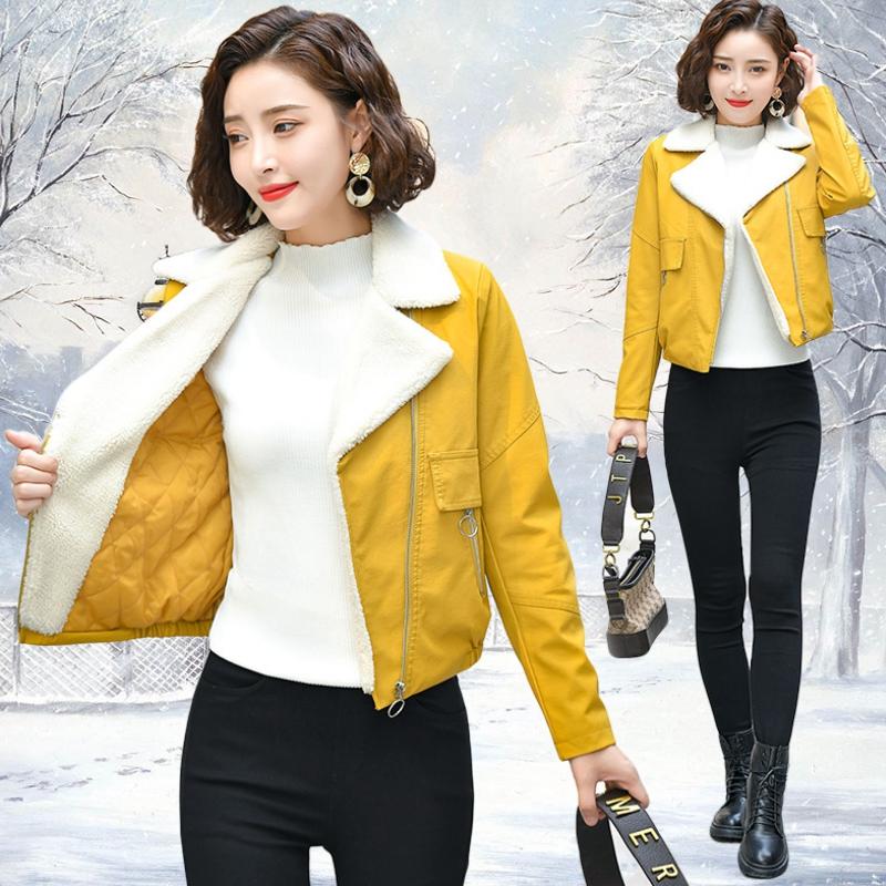 黄色皮衣 小款皮衣女短款加棉加厚冬季新款2020高腰小个子秋冬加绒夹克外套_推荐淘宝好看的黄色皮衣