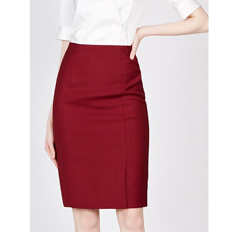 红色半身裙 欧范半身裙弹力高腰中长款女裙职业装一步裙工作服包裙红色半裙_推荐淘宝好看的红色半身裙