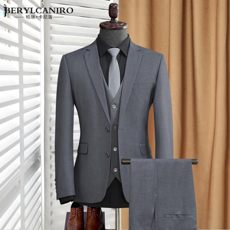 男士小西装 男士西服套装三件套韩版修身上班商务职业正装灰色小西装结婚礼服_推荐淘宝好看的男小西装