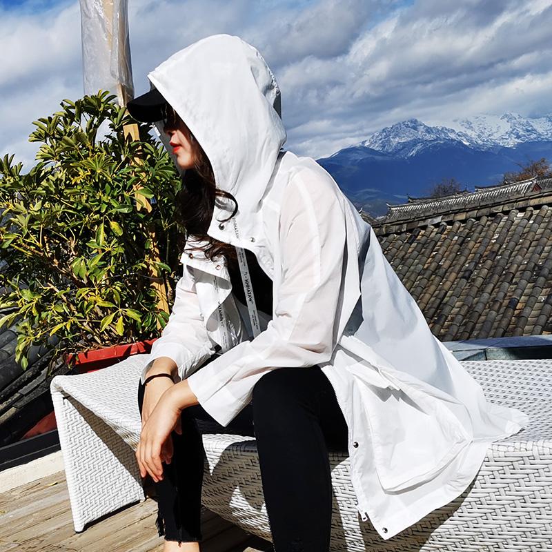 女款风衣 2020风衣防晒衣中长款女夏季宽松薄长袖衫白色防晒服新款旅行外套_推荐淘宝好看的女风衣