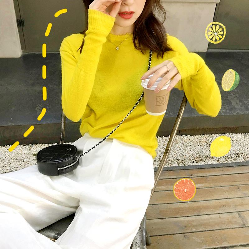 黄色针织衫 FAN 设计师款巨显白洋气黄色针织衫上衣_推荐淘宝好看的黄色针织衫
