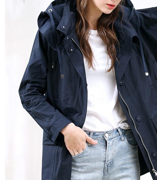 带帽风衣 出口欧美英伦中长款工装春装新品宽松休闲夹克带帽风衣大码外套女_推荐淘宝好看的女带帽风衣