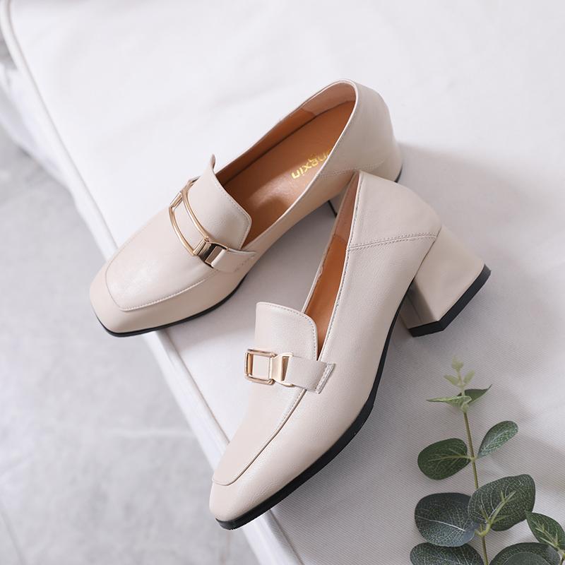 英伦时尚单鞋 单鞋女2020新款百搭时尚英伦风女鞋夏季方头一脚蹬两穿粗跟小皮鞋_推荐淘宝好看的英伦时尚单鞋