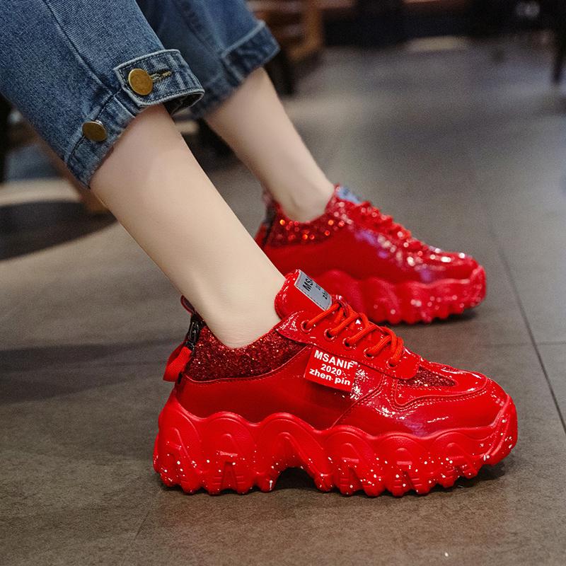 红色厚底鞋 红色运动鞋网红2020新款秋冬季鞋子ns潮超火厚底松糕休闲老爹鞋女_推荐淘宝好看的红色厚底鞋