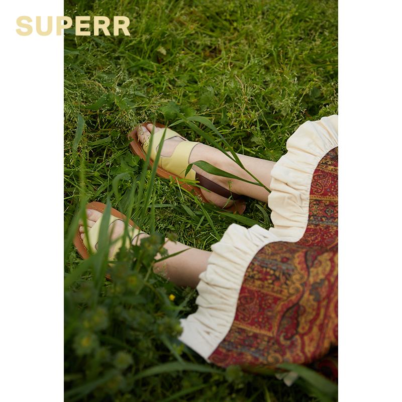 黄色凉鞋 SUPERR  2019ss vol.4 复古宽边嫩黄色平底凉鞋_推荐淘宝好看的黄色凉鞋