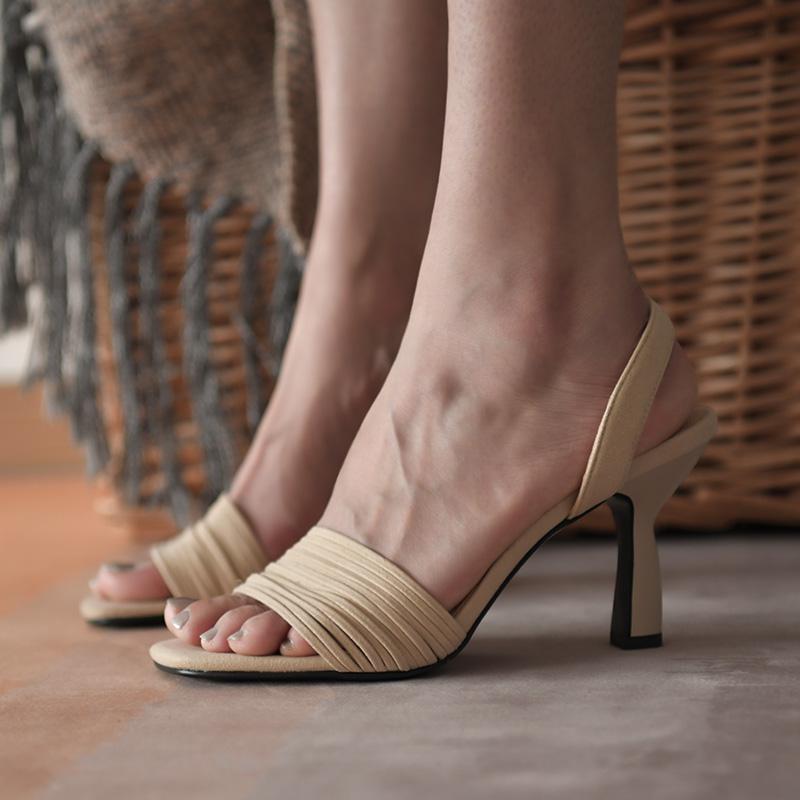 红色罗马鞋 卡菲曼 猫跟鞋女夏细跟凉鞋女跟鞋半拖凉鞋磨砂高跟红色罗马凉鞋_推荐淘宝好看的红色罗马鞋