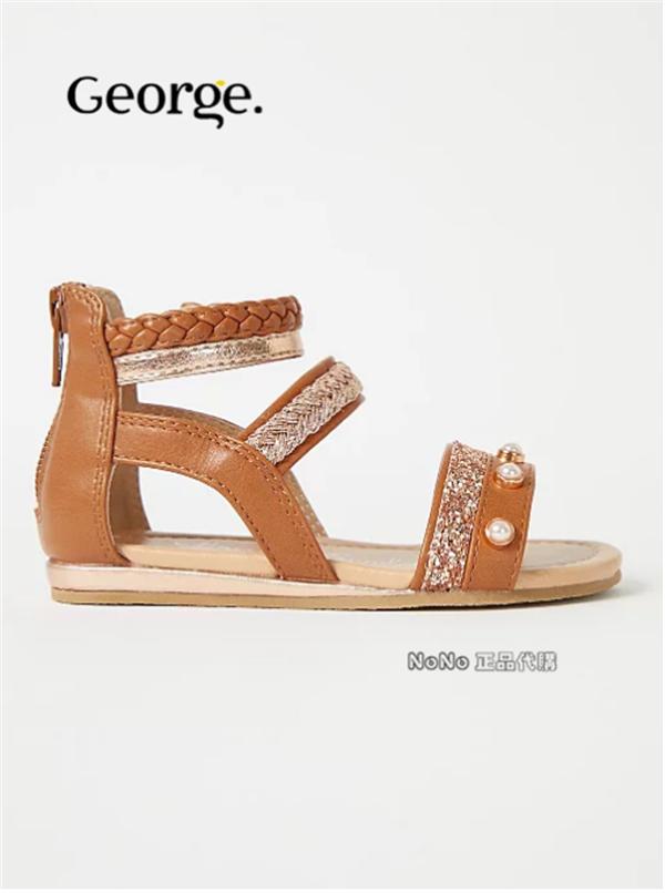 黄色罗马鞋 George英国正品女童棕黄色罗马角斗士凉鞋珍珠编织743527_推荐淘宝好看的黄色罗马鞋