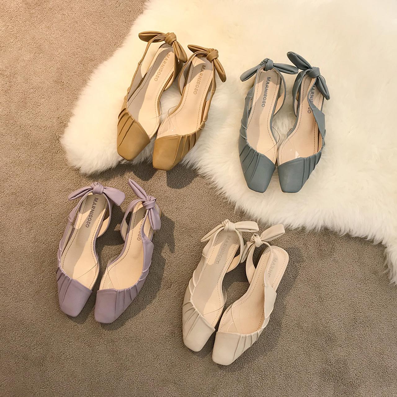 紫色凉鞋 紫色凉鞋女中跟夏季百搭仙女蝴蝶结后绑带侧空褶皱软皮粗跟奶奶鞋_推荐淘宝好看的紫色凉鞋