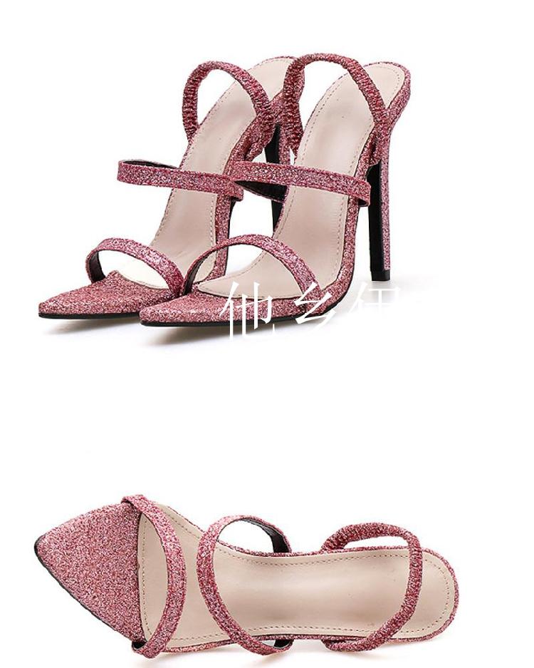 粉红色鱼嘴鞋 美国BL 夏季时尚闪光亮片装饰粉红色细跟高跟凉鞋尖头露趾高跟鞋_推荐淘宝好看的粉红色鱼嘴鞋