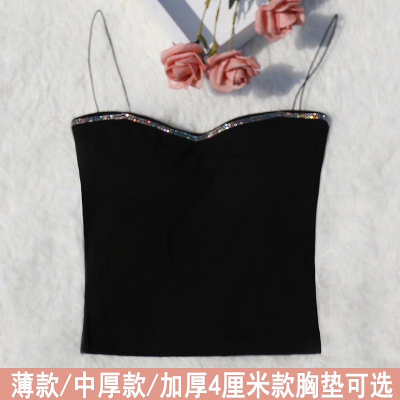 吊带 吊带背心细带纯棉长款防走光美背性感外穿带钻带胸垫少女抹胸内衣_推荐淘宝好看的吊带