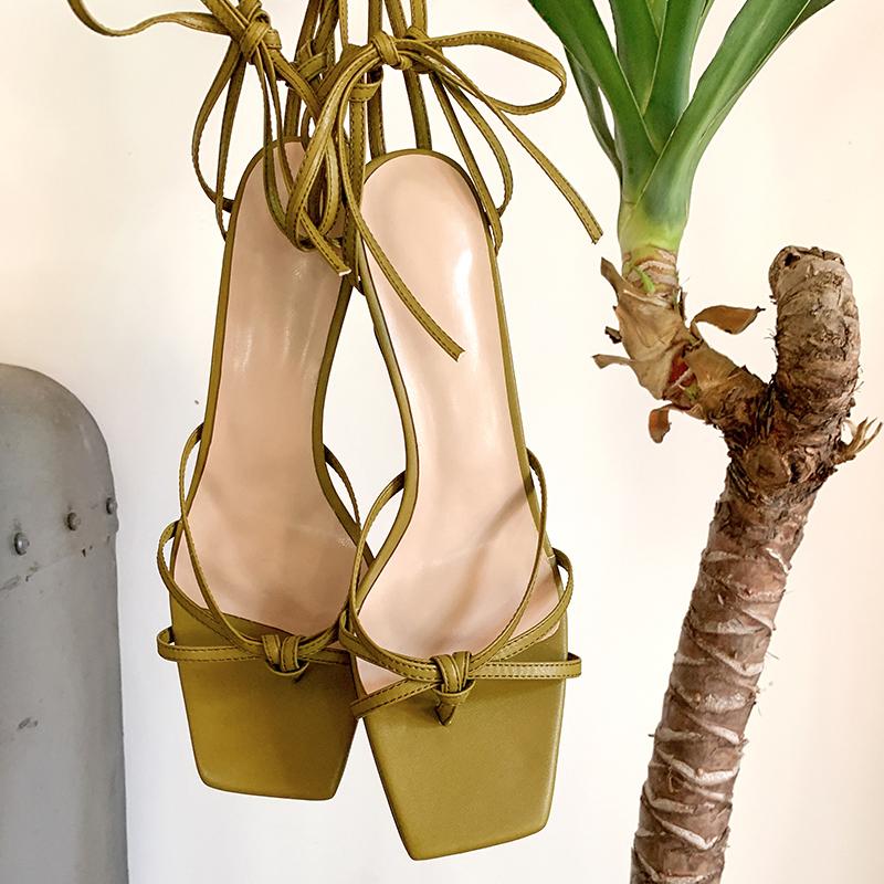绿色凉鞋 MSMESSA绿色凉鞋复古真皮中跟法式高跟鞋罗马细跟绑带凉鞋vintage_推荐淘宝好看的绿色凉鞋