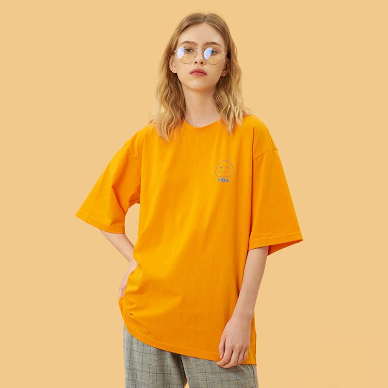 黄色T恤 宜搭黄色短袖T恤女韩版宽松半袖体恤2021夏季BF港风个性潮上衣服_推荐淘宝好看的黄色T恤