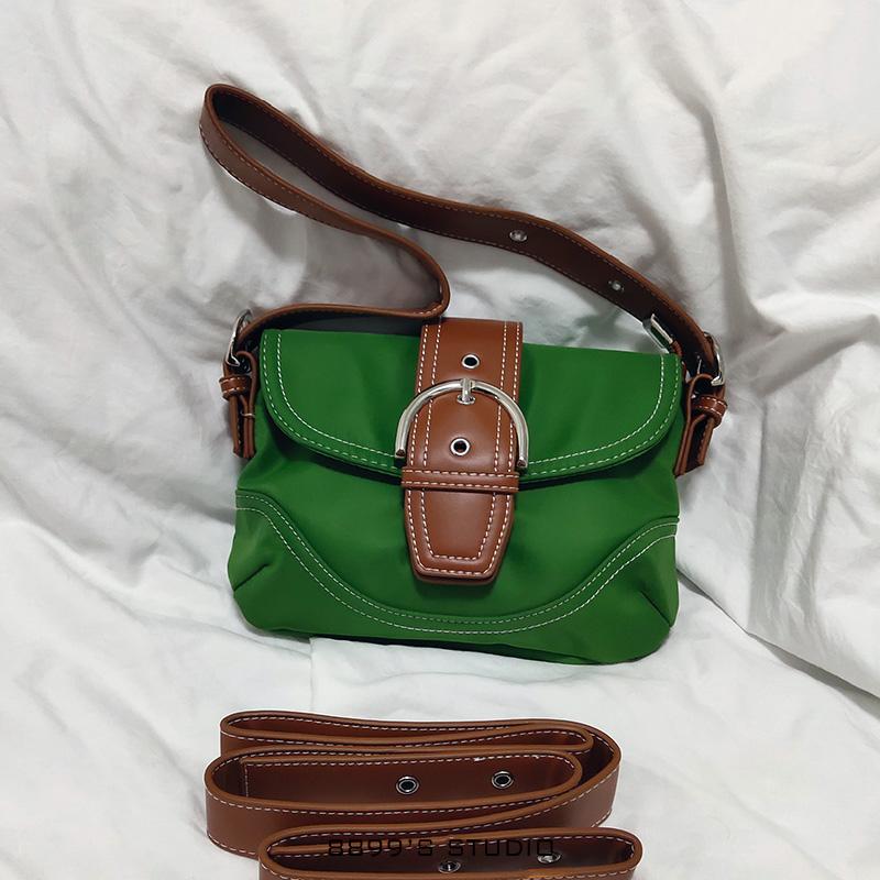 绿色复古包 8899果绿色vintage泫雅风尼龙腋下包 今年流行的女生小号复古包包_推荐淘宝好看的绿色复古包