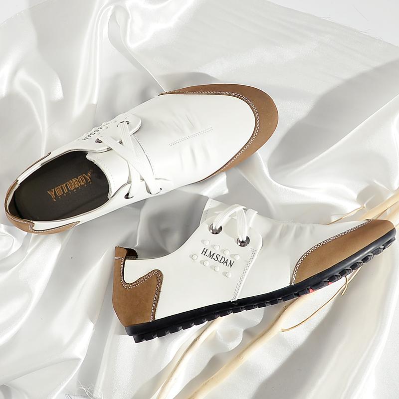 白色豆豆鞋 夏季男士休闲鞋真皮白色鞋子韩版潮流豆豆鞋百搭男鞋软面皮鞋驾车_推荐淘宝好看的白色豆豆鞋
