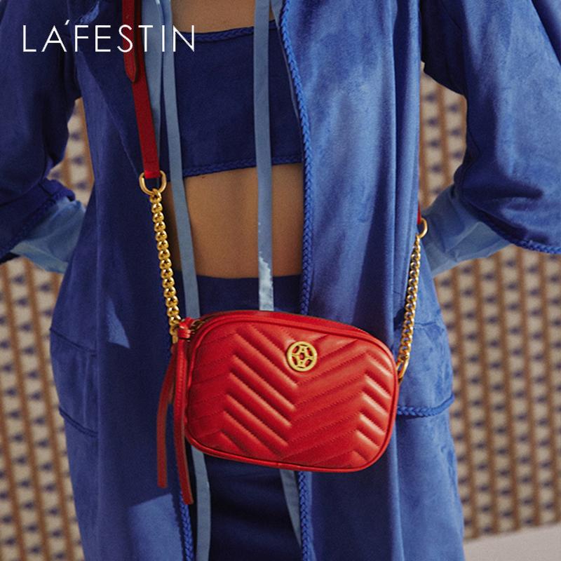 红色迷你包 拉菲斯汀真皮女包2021新款迷你菱格小包链条单肩斜挎包红色小挎包_推荐淘宝好看的红色迷你包