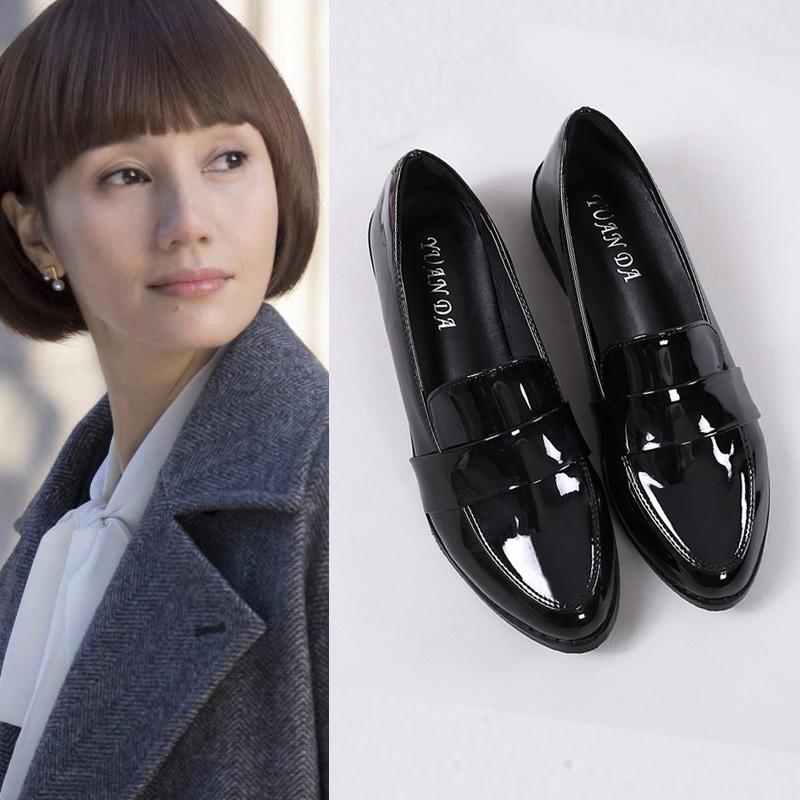 黑色单鞋 2021春季韩版百搭唐晶同款英伦风小皮鞋女乐福鞋黑色工作鞋女单鞋_推荐淘宝好看的黑色单鞋