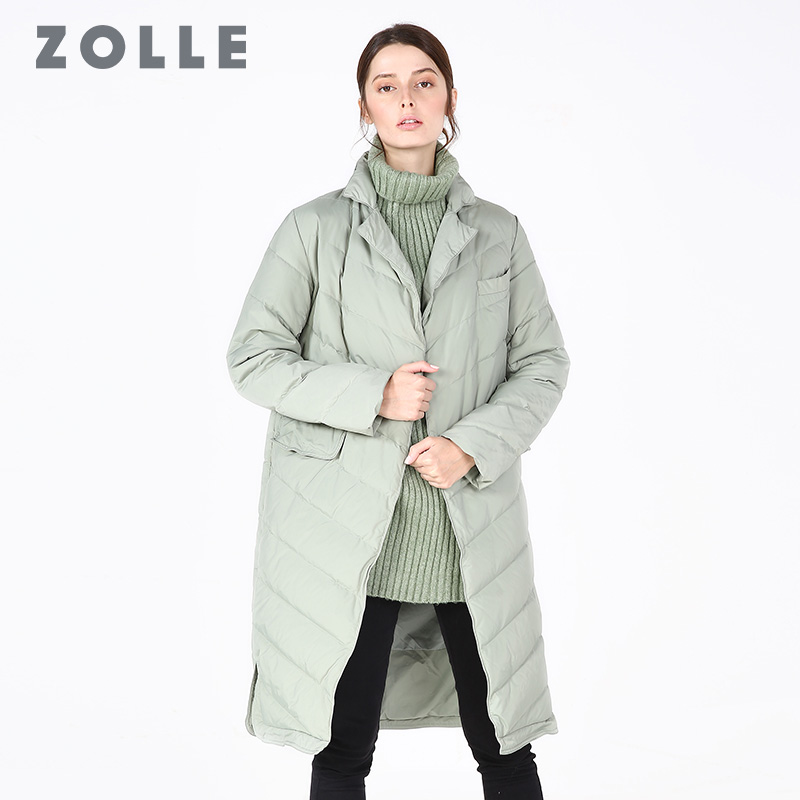 羽绒服 ZOLLE因为时尚宽松羽绒服女中长款轻便鸭绒加厚外套冬装2018新款_推荐淘宝好看的女羽绒服