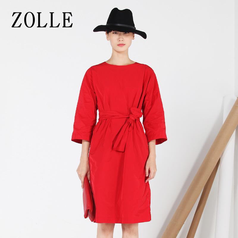 七分袖连衣裙 ZOLLE因为纯色系带修身中裙圆领七分袖a型连衣裙秋季新品女装_推荐淘宝好看的七分袖连衣裙