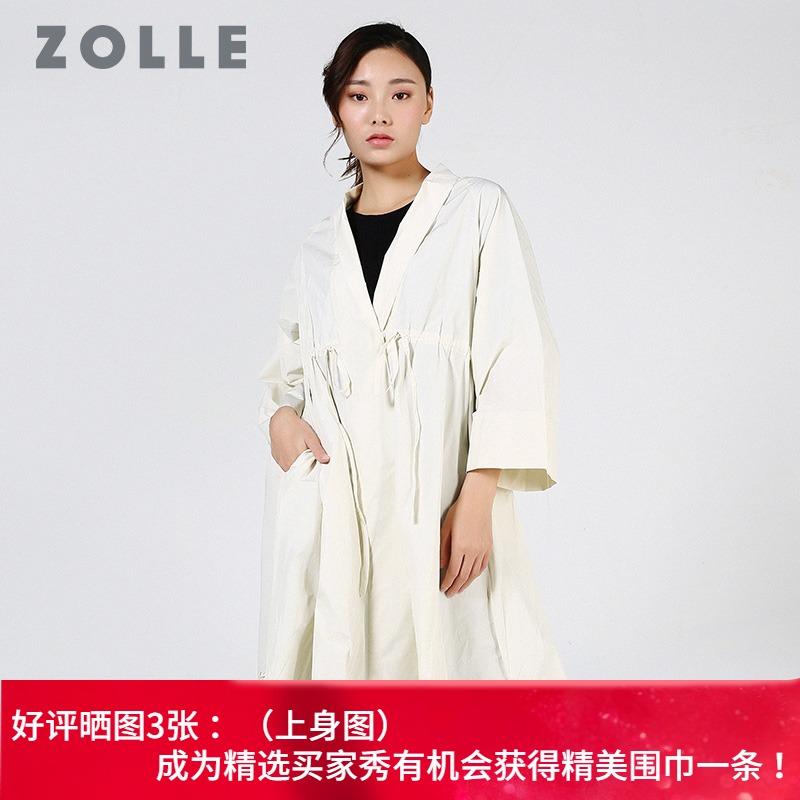 系带风衣 ZOLLE因为民族风刺绣风衣女中长款高腰c系带外套春季新款_推荐淘宝好看的女系带风衣