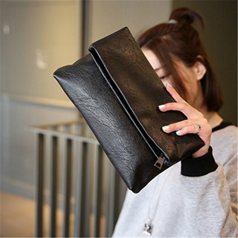 黑色信封包 日韩折叠手拿包复古黑色女士时尚大容量信封包 pu软皮实用小手包_推荐淘宝好看的黑色信封包