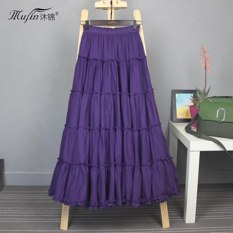 紫色半身裙 半身长裙夏大摆裙高腰沙滩裙跳舞裙子文艺波西米亚A字半身裙红色_推荐淘宝好看的紫色半身裙