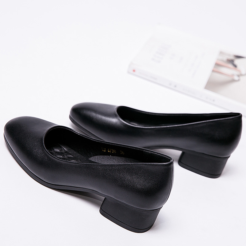 黑色单鞋 方头粗跟单鞋中跟职业女鞋黑色工作高跟鞋女软底银行酒店上班皮鞋_推荐淘宝好看的黑色单鞋