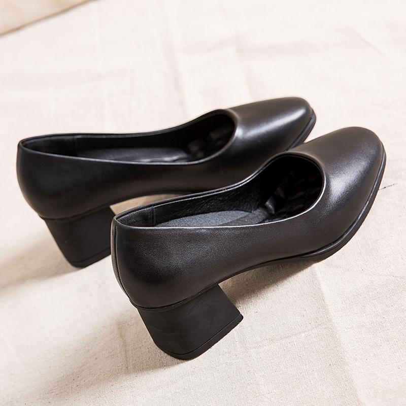 黑色单鞋 软底单鞋女浅口皮鞋中跟粗跟高跟鞋黑色工作鞋方头办公室舒适前台_推荐淘宝好看的黑色单鞋