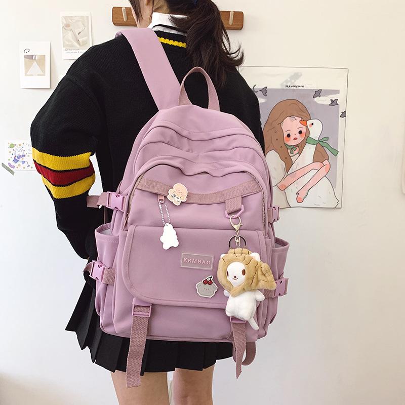 紫色双肩包 高中大学生书包紫色小清新淑女软妹背包纯色校园上课开学双肩日韩_推荐淘宝好看的紫色双肩包
