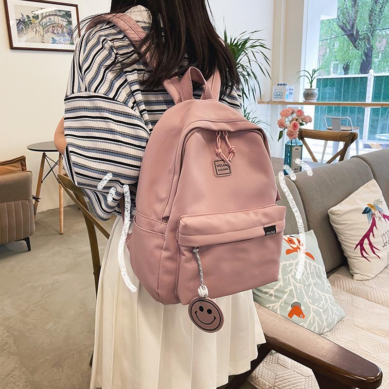 粉红色帆布包 粉红色小背包新款纯百搭帆布书包小学生初中456年级上课女双肩夏_推荐淘宝好看的粉红色帆布包