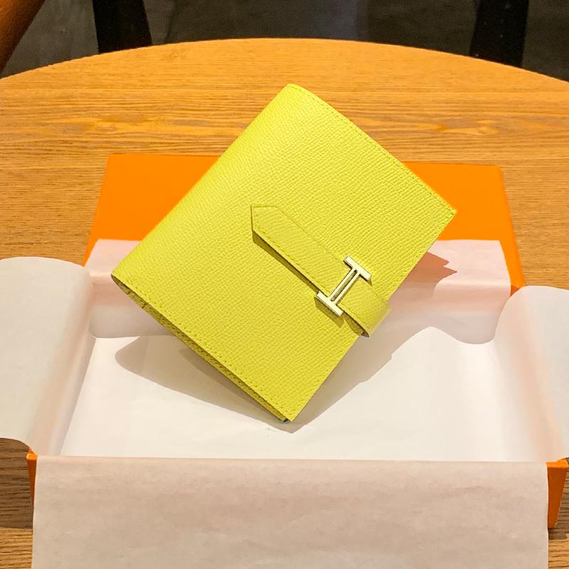 黄色钱包 黄色钱包招财短款H家钱夹大牌款多功能手掌纹女士两折皮夹真皮H扣_推荐淘宝好看的黄色钱包