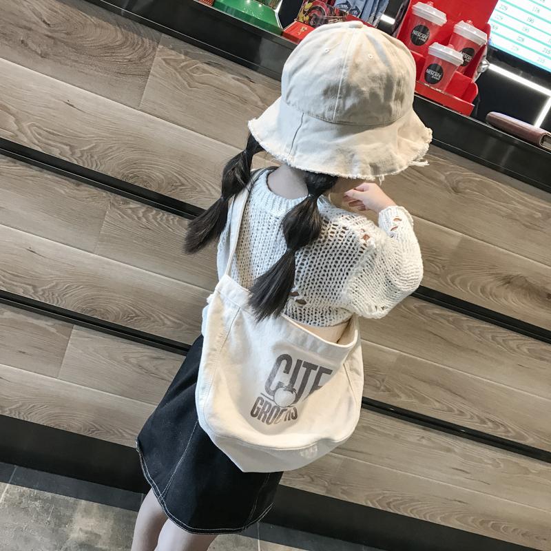 韩版帆布包 韩版儿童帆布袋百搭白色轻便包包时尚潮女童斜挎单肩包女孩补课包_推荐淘宝好看的女韩版帆布包