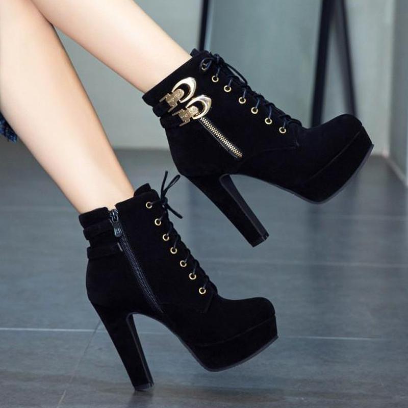 靴子 冬季靴子时尚高跟短靴女百搭系带厚底粗跟马丁靴2021秋季新款单靴_推荐淘宝好看的女靴子