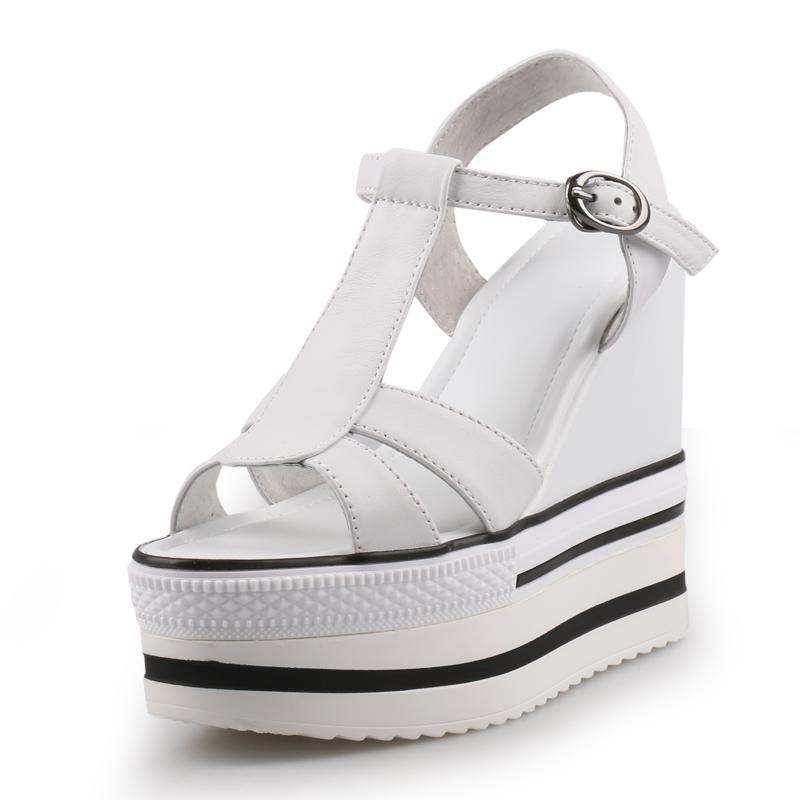 白色罗马鞋 2020夏季新款罗马风白色坡跟凉鞋女外穿厚底真皮休闲松糕高跟女鞋_推荐淘宝好看的白色罗马鞋