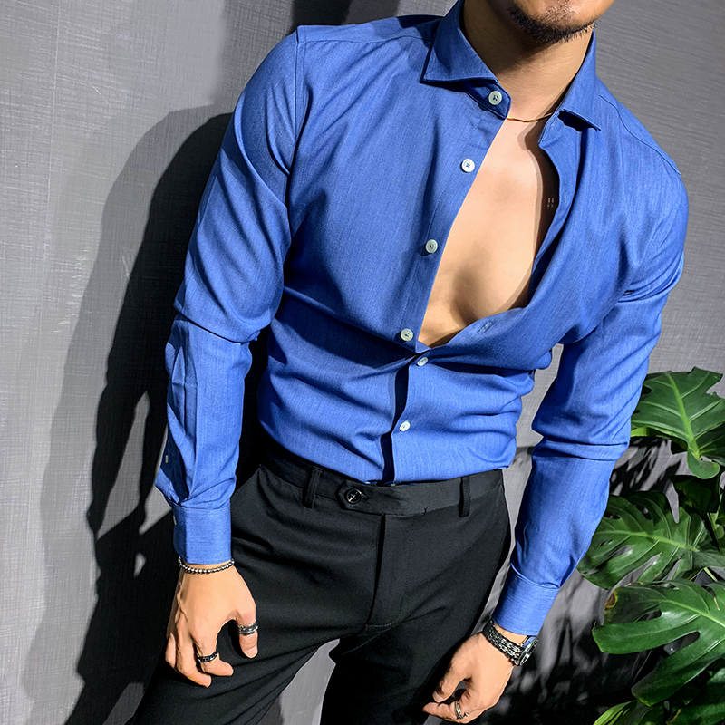 男士牛仔衬衫 辉先生新款牛仔蓝衬衫男士长袖纯色弹力修身韩版职业正装衬衣潮_推荐淘宝好看的男牛仔衬衫