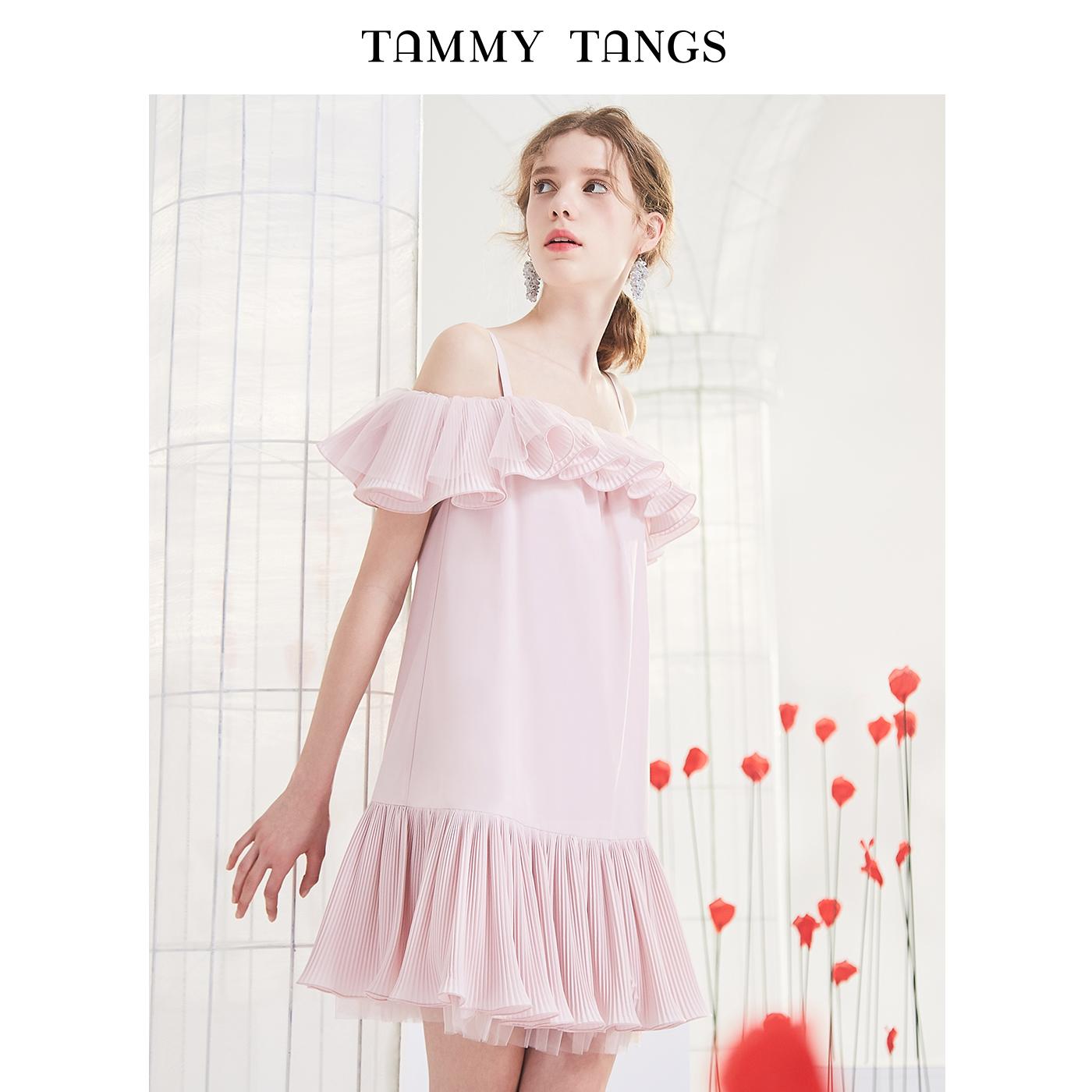 粉红色连衣裙 糖力 夏季新款粉红色一字肩宽松网纱百褶荷叶边吊带连衣裙女_推荐淘宝好看的粉红色连衣裙