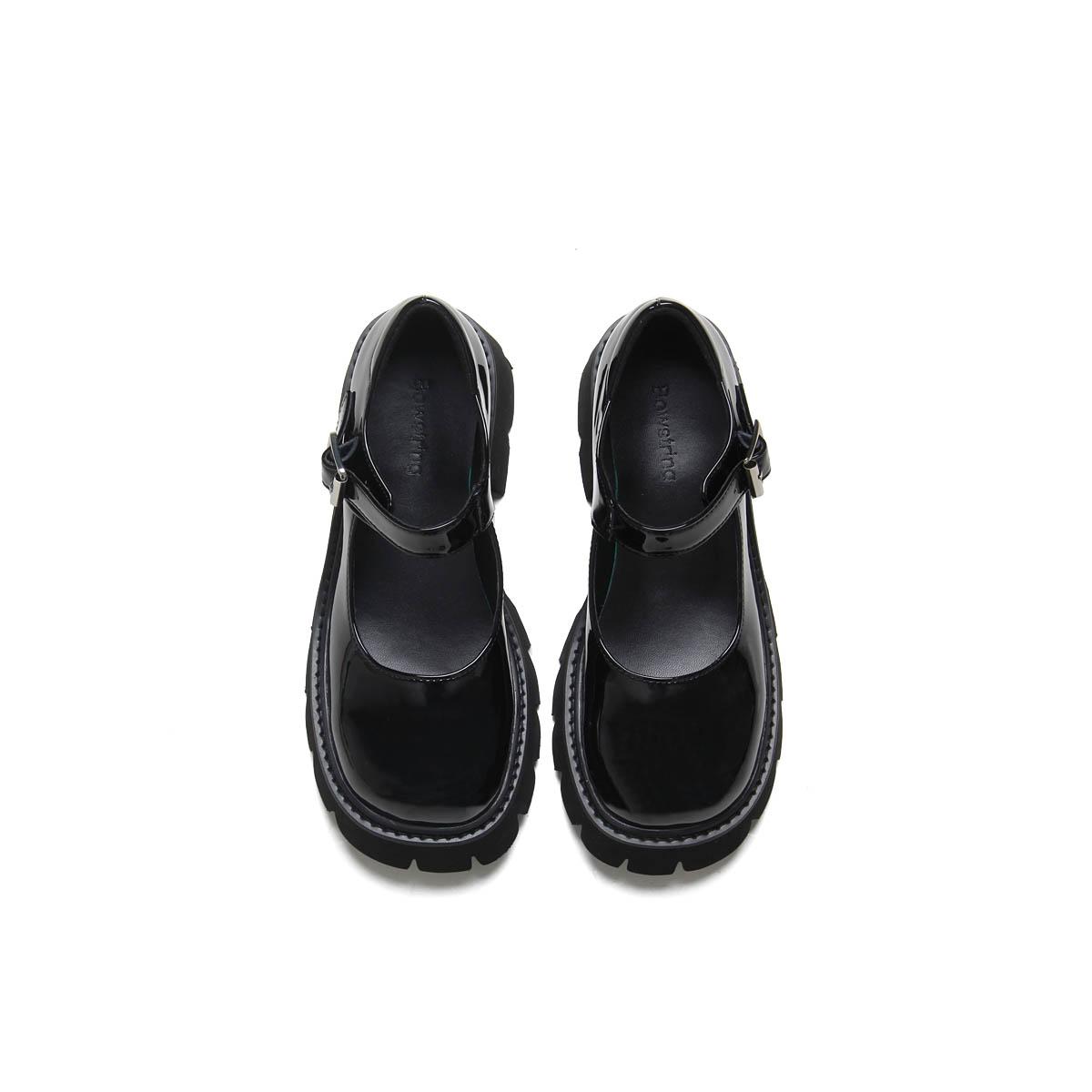 学院风松糕鞋 BOWSTRING 19FW 漆皮厚底玛丽珍女鞋复古学院风松糕底浅口小皮鞋_推荐淘宝好看的学院风松糕鞋