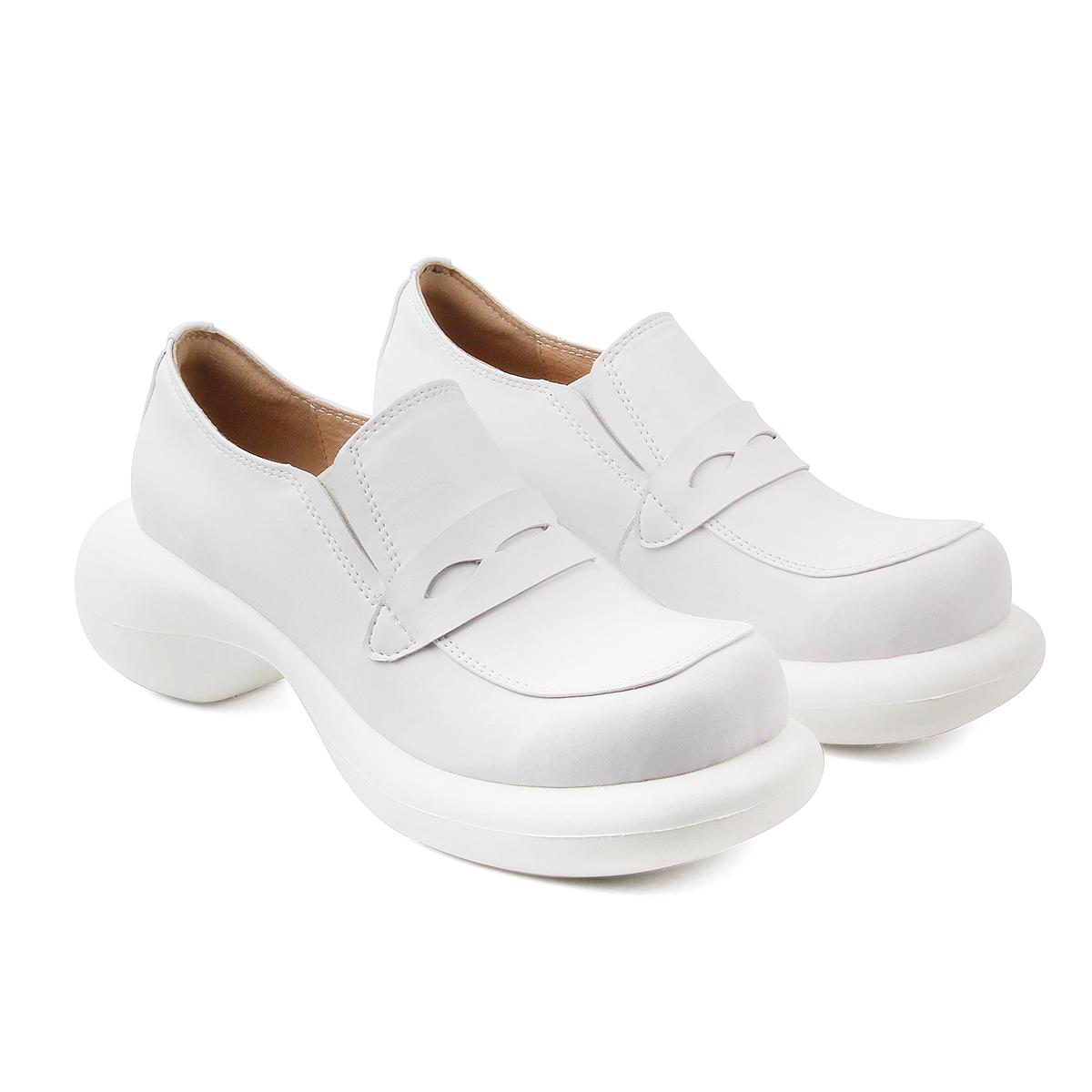 学院风松糕鞋 BOWSTRING 2020SS 复古厚底乐福鞋女学院风少女百搭高跟松糕鞋_推荐淘宝好看的学院风松糕鞋