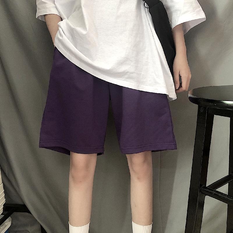 紫色休闲裤 樱田川岛2021年新款夏季ins直筒短裤休闲宽松高腰运动紫色裤子女_推荐淘宝好看的紫色休闲裤