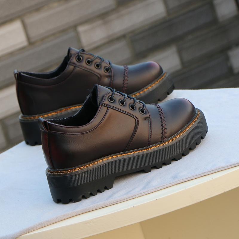 黑色松糕鞋 单鞋女2020秋冬季新款英伦风女鞋复古加绒黑色松糕厚底小皮鞋女_推荐淘宝好看的黑色松糕鞋