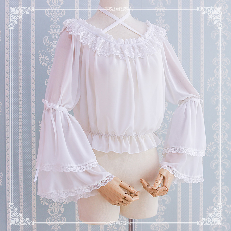 雪纺上衣 洛丽塔日常 洋装夏季雪纺姬袖上衣lolita内搭可爱一字领挂脖衬衫_推荐淘宝好看的雪纺上衣