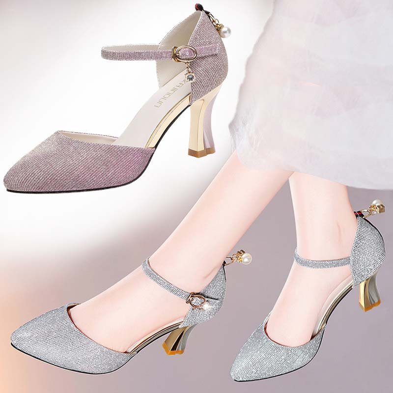 紫色凉鞋 旗袍凉鞋女仙女风搭配晚礼服的高跟鞋紫色鞋子粗跟潮伴娘礼仪婚鞋_推荐淘宝好看的紫色凉鞋