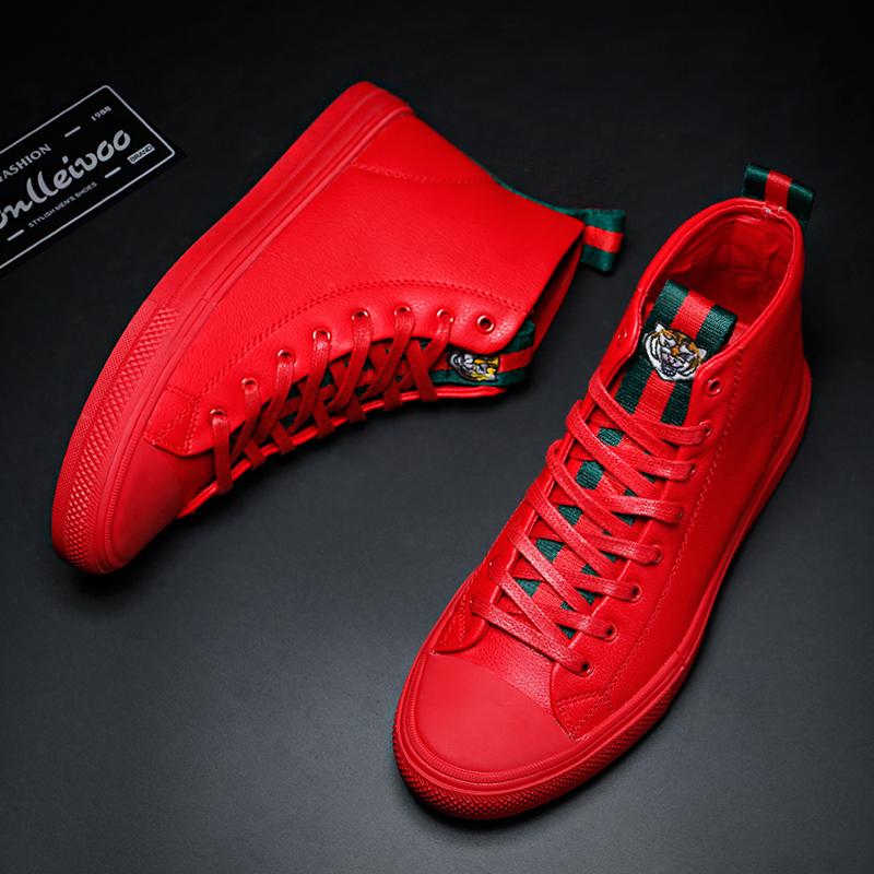 红色高帮鞋 男鞋冬季潮鞋高帮鞋韩版潮流红色板鞋男棉鞋休闲皮鞋中帮加绒鞋子_推荐淘宝好看的红色高帮鞋