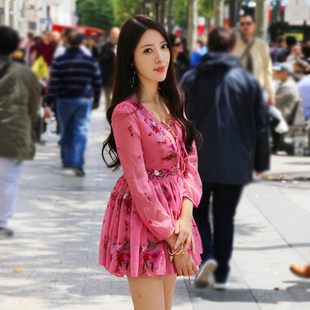 粉红色连衣裙 T-Baby韩版粉红色绣花雪纺连衣裙收腰显瘦修身气质女夏装2021新款_推荐淘宝好看的粉红色连衣裙