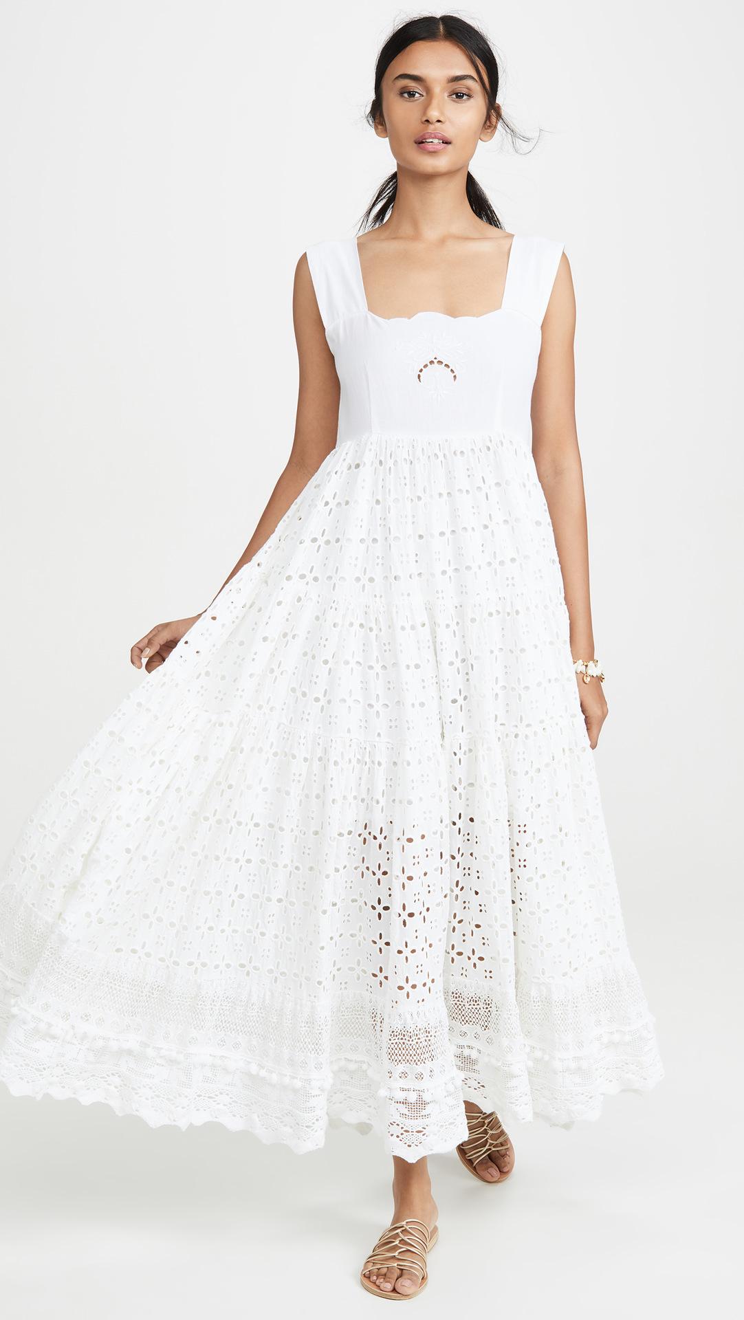 白色吊带连衣裙 裙子仙女超仙森系吊带裙女夏法式显瘦白色方领连衣裙波西米亚长裙_推荐淘宝好看的白色吊带连衣裙