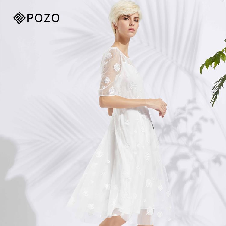 白色蕾丝连衣裙 POZO伯柔夏季仙气蕾丝绣花网纱收腰X型白色连衣裙PD2L0307-1899_推荐淘宝好看的白色蕾丝连衣裙