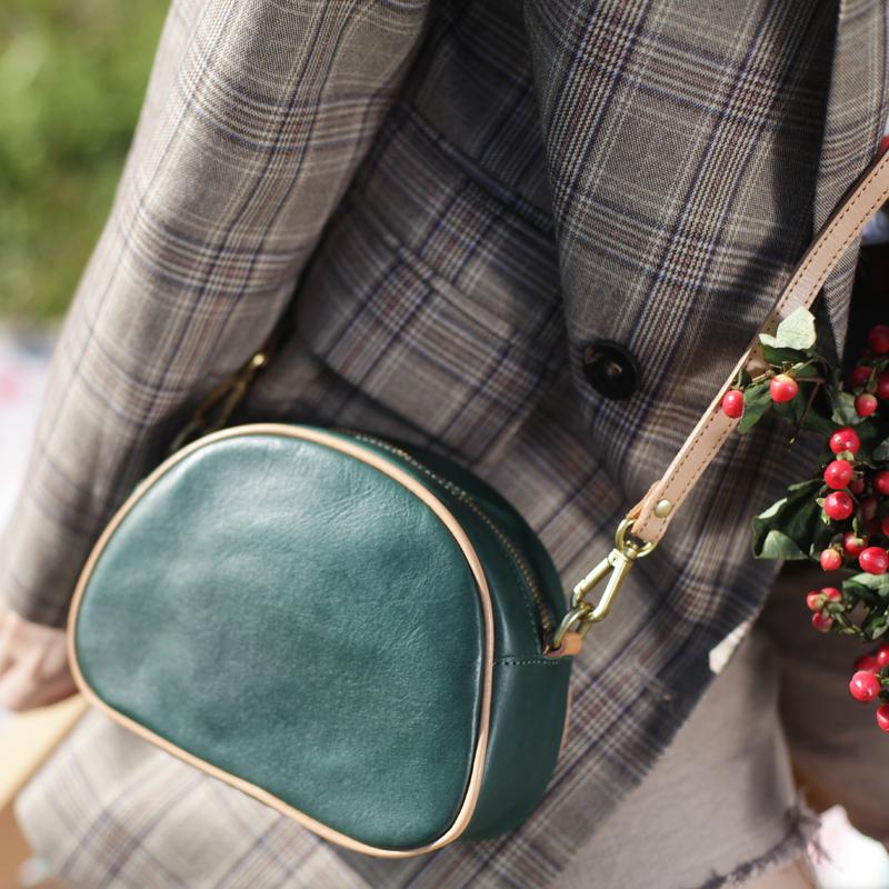 绿色复古包 葱木复古手工皮具包包女夏小众包单肩包日系简约绿色真皮斜挎女包_推荐淘宝好看的绿色复古包